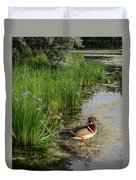 Wood Duck And Iris Duvet Cover by Patti Deters