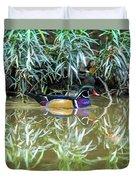 Wood Duck Reflection Duvet Cover