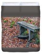Wooden Autumn Bench Duvet Cover by Scott Lyons