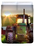 Working John Deere In The Morning Sunshine Duvet Cover