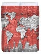 World Map Landmarks Skyline 3 Duvet Cover