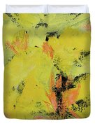 Yellow Blooms Coral Accents Duvet Cover