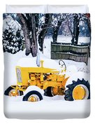 Yellow Tractor In The Snow Duvet Cover