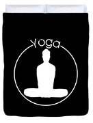 Yoga Image Of Silhouette Of Woman Sitting In Lotus Position Or Padmasana Duvet Cover
