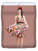 Young Beautiful Dancer Posing On Tan Background Duvet Cover