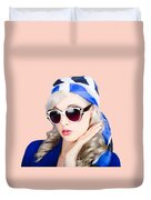 Young Beautiful Retro Girl In Glasses Duvet Cover