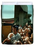 Young Fans Hold Up Baseballs For Royals Star George Brett To Sign Duvet Cover