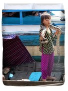Young Girl With Snake 2, Cambodia Duvet Cover