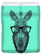 Zebra In Glasses Duvet Cover
