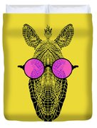 Zebra In Pink Glasses Duvet Cover
