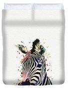 Zebra Watercolor Painting Duvet Cover