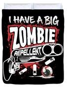 Zombie Repellent Halloween Funny Gun Art Dark Duvet Cover
