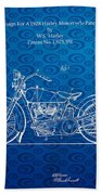 Design For A 1928 Harley Motorcycle Patent Bath Towel