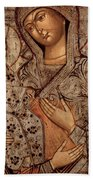 Icon Of The Blessed Virgin With Three Hands Bath Towel
