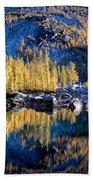 Larch Tree Reflection In Leprechaun Lake Bath Towel