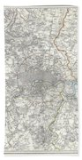 Map Of London And Environs Bath Towel