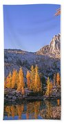 Prusik Peak Behind Larch Trees Bath Towel