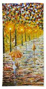 Rainy Autumn Beauty Original Palette Knife Painting Bath Towel