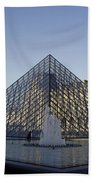 The Glass Pyramid Of The Musee Du Louvre In Paris France Bath Towel