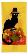 Thanksgiving Le Chat Noir With Turkey Pilgrim Bath Towel