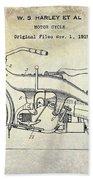 1924 Harley Davidson Motorcycle Patent  Bath Towel