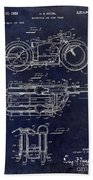1950 Motorcycle Patent Drawing Blue Bath Towel