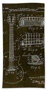 1955 Gibson Les Paul Patent Drawing Bath Towel