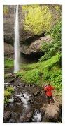 A Woman Admires Latourel Falls On June Bath Towel