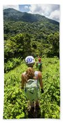 A Young Woman Hikes Through The Jungles Bath Towel
