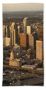 Aerial View Of Seattle Skyline Along Waterfront Bath Towel
