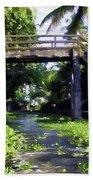 An Old Stone Bridge Over A Canal Bath Towel