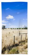 Arid Agricultural Landscape In South Tasmania Bath Towel