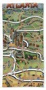Atlanta Cartoon Map Bath Towel