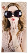 Beautiful Surprised Girl Wearing Big Sunglasses Bath Towel