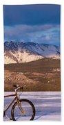 Bike On Frozen Lake Laberge Yukon Canada Bath Towel