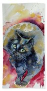 Black Cat In Gold Bath Towel
