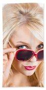 Blond Woman In Sunglasses Bath Towel