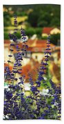Blue Flowers And Rooftops In Sarlat Bath Towel