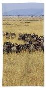 Blue Wildebeest Migrating Masai Mara Bath Towel