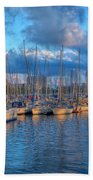 Boats In The Harbor Of Barcelona Bath Towel
