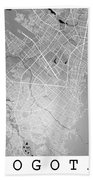 Bogota Street Map - Bogota Colombia Road Map Art On Colored Back Bath Towel