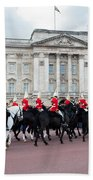 British Royal Guards Perform The Changing Of The Guard In Buckingham Palace Hand Towel