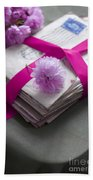 Bundle Of Old Love Letters Tied With Ribbon And Blossom Bath Towel