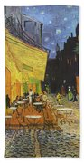 Cafe Terrace At Night Bath Towel