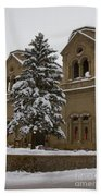 Cathedral Basilica Of St Francis In Snow Bath Towel