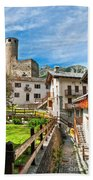 Chatelard Village With Castle Bath Towel