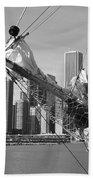Chicago Skyline And Tall Ship Bath Towel