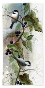 Chickadees And Blueberries Bath Towel
