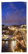 City Of Porto In Portugal By Night Bath Towel