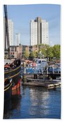 City Of Rotterdam Cityscape In Netherlands Bath Towel